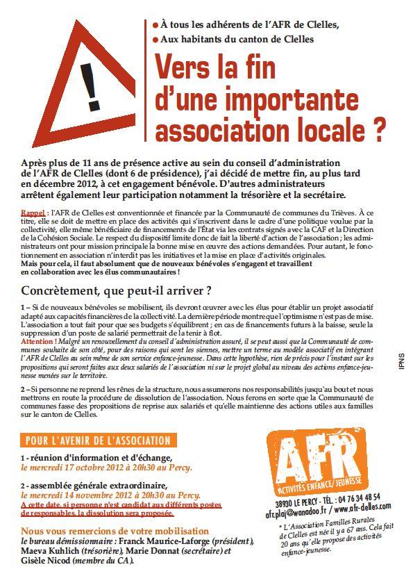 Appel AFR dans Trièves AFR