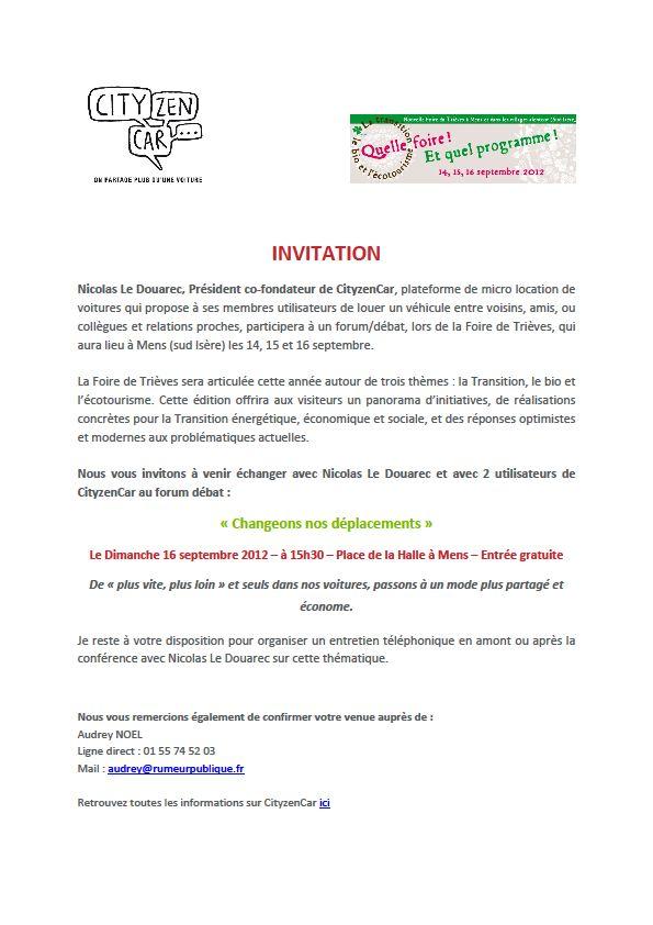 Invitation dans Ecologie invit