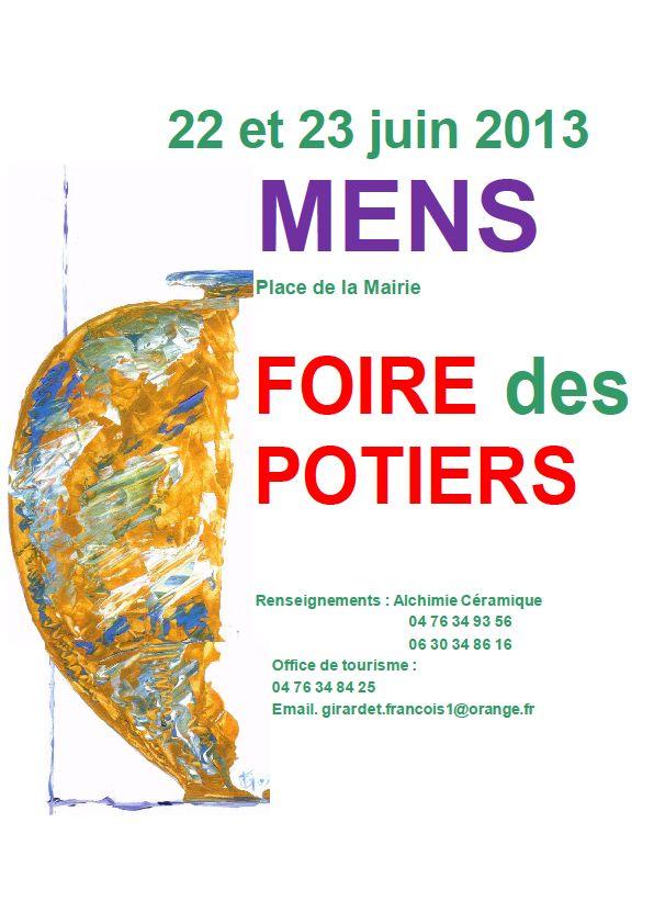 FOIRE DES POTIERS DE MENS 22 ET 23 JUIN : l'eau, l'air, le feu, la terre... et l'homme. dans Trieves evenements potiers