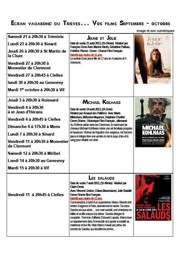 Septembre -Octobre dans Trièves culture & cinéma vagabondoc